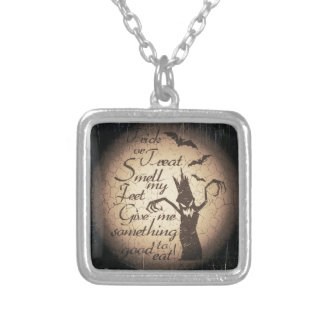 halloween quote silver plated necklace