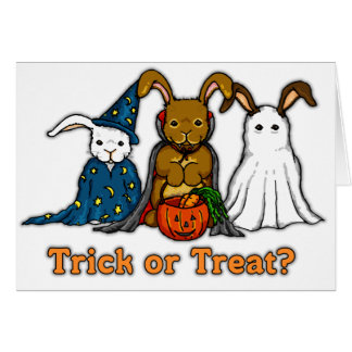 Halloween Rabbits Trick or Treating Greeting Card