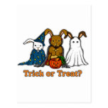 Halloween Rabbits Trick or Treating Postcard