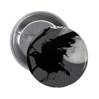 Halloween Raven in Branch with Full Moon Button