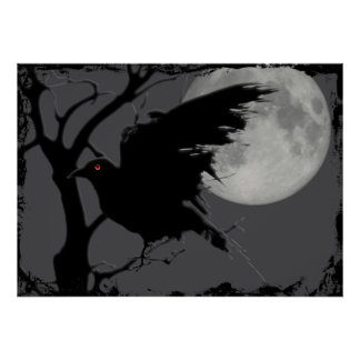 Halloween Raven in Branch with Full Moon Poster