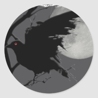 Halloween Raven in Branch with Full Moon Classic Round Sticker