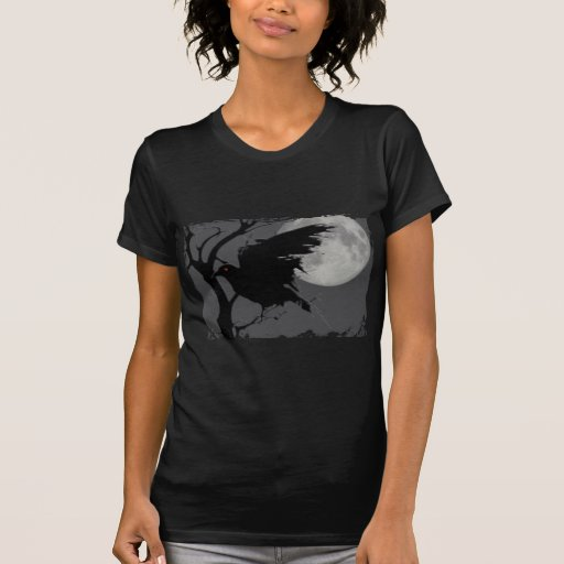 Halloween Raven in Branch with Full Moon T Shirts