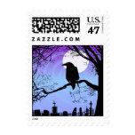 Halloween Raven in Tree by Graveyard Postage