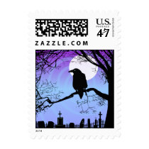 Halloween Raven in Tree by Graveyard Postage