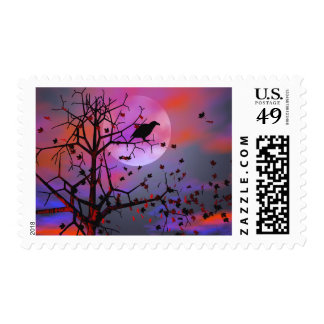 Halloween Raven Night Postage Stamp