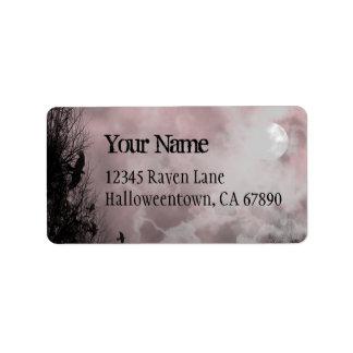 Halloween Raven Red Sky Custom Address Label