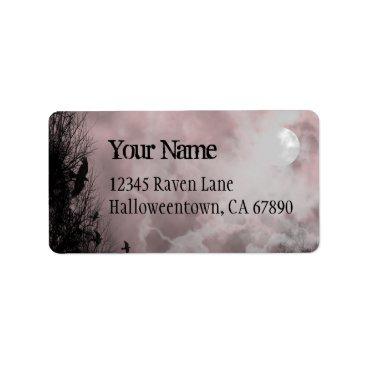 Halloween Themed Halloween Raven Red Sky Custom Address Label