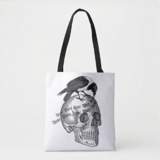 Halloween Raven Skull Never More Toote Tote Bag