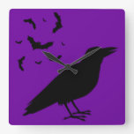 Halloween Raven Square Wallclocks