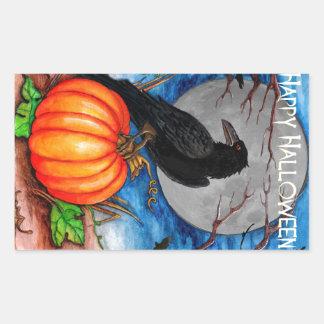 Halloween Raven Rectangular Sticker