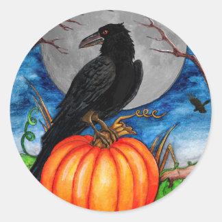 Halloween Raven Classic Round Sticker