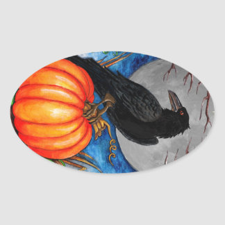 Halloween Raven Oval Sticker