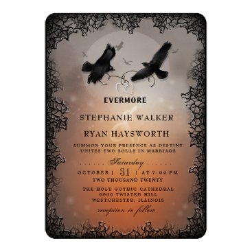 Wedding Themed Halloween Ravens and Hearts Evermore Wedding Card