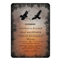 Halloween Ravens and Hearts Evermore Wedding Invitation