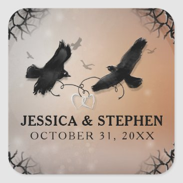 Halloween Themed Halloween Ravens with Hearts Wedding Square Square Sticker