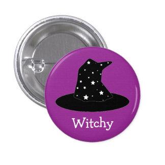 Halloween raya el botón del gorra de la bruja pins