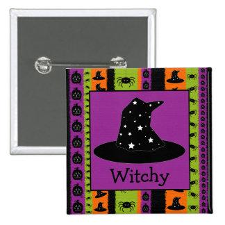 Halloween raya el botón del gorra de la bruja pin