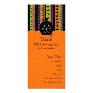 Halloween raya la tarjeta del menú de la calabaza tarjetas publicitarias a todo color