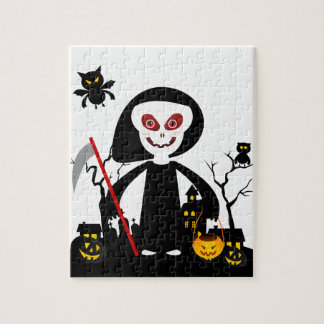 Halloween reaper kid goes trick or treating jigsaw puzzle