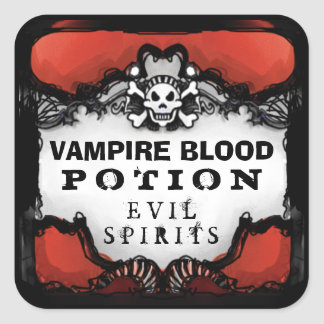 Halloween Red & Black Custom Drink Label