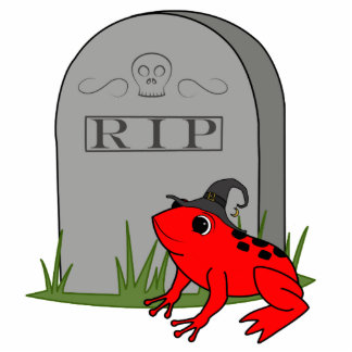Halloween Red Frog with RIP Grave Stone Photo Sculpture Button