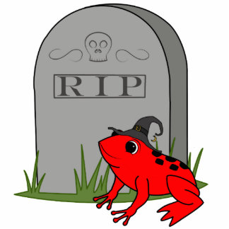 Halloween Red Frog with RIP Grave Stone Photo Sculpture Keychain