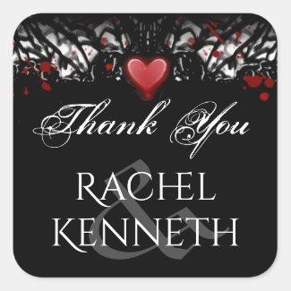 Halloween Red Heart Black White Wedding Thank You