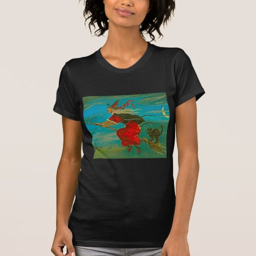 Halloween Red Witch with Cat Tees
