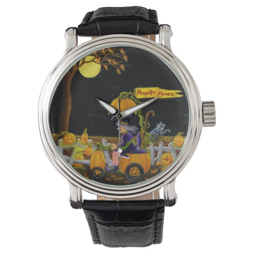 Halloween, reloj, bruja, Jack-O-Linternas, ratón, Reloj