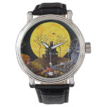 Halloween, reloj, fantasmas, cementerio, gatos, reloj de mano