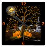 Halloween, reloj, fantasmas, Jack-O-Linternas, sep Reloj Cuadrado