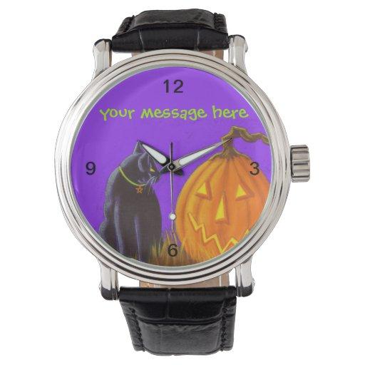 Halloween, reloj, Jack-O-Linternas, negro, gato Relojes De Pulsera