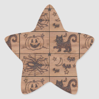 Halloween remilgado remienda Woodburned retro Calcomanías Forma De Estrellas Personalizadas