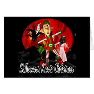 Halloween resuelve el navidad - duende que corre l felicitaciones