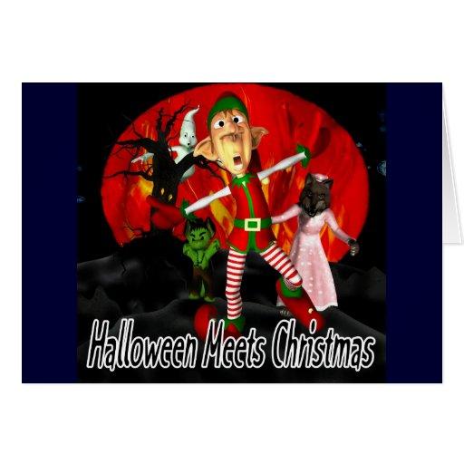 Halloween resuelve el navidad - duende que corre tarjeta de felicitación
