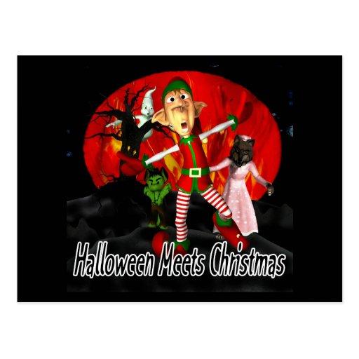 Halloween resuelve el navidad, duende que corre tarjetas postales