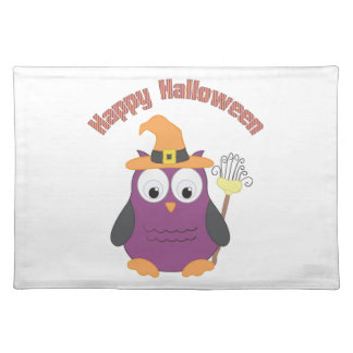 Halloween Retro Owl Witch and Dracula Tees & Gifts Cloth Placemat