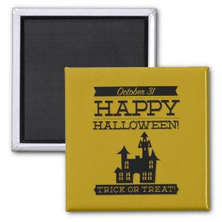 Halloween retro tipográfico imán cuadrado