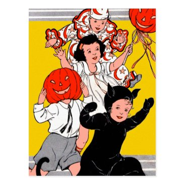 holly_ween Halloween Retro Vintage Children's Costume Party Postcard