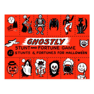 Halloween Retro Vintage Ghostly Stunts Game Postcard