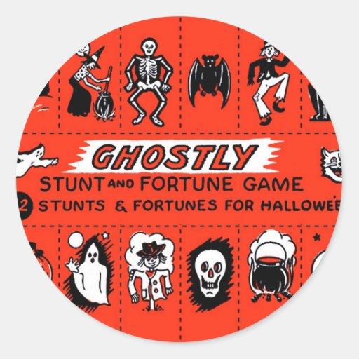 Halloween Retro Vintage Ghostly Stunts Game Sticker