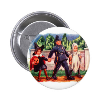 Halloween Retro Vintage Kids Trick or Treat Cop 2 Inch Round Button