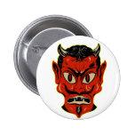Halloween Retro Vintage Kitsch Devil Mask Button