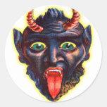 Halloween Retro Vintage Kitsch Devil Satan Lucifer Classic Round Sticker