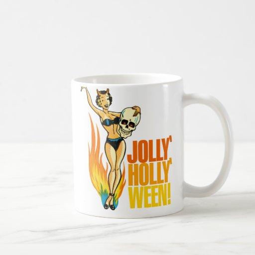 Halloween Retro Vintage Kitsch Holly Jolly Ween Classic White Coffee Mug