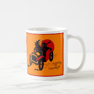 Halloween Retro Vintage Kitsch Jalopy Witch & Cat Coffee Mug