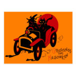 Halloween Retro Vintage Kitsch Jalopy Witch & Cat Post Cards