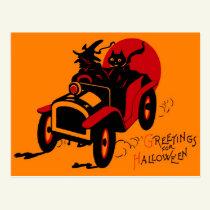 Halloween Retro Vintage Kitsch Jalopy Witch & Cat Postcard