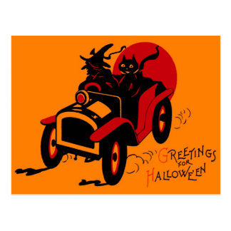 Halloween Retro Vintage Kitsch Jalopy Witch & Cat Postcard
